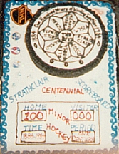 Strathclair Municipality Centennial Cake with Official Logo and Hockey Theme
